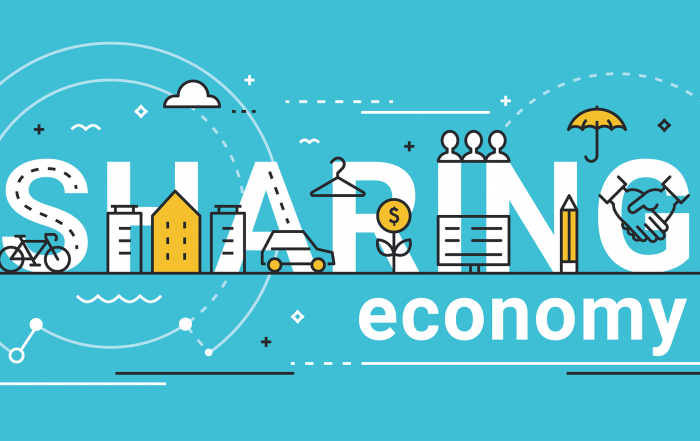 Elements of the sharing economy including car, bicycle, handshake, money, and umbrella.