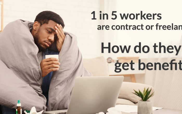 1 in 5 workers are contract or freelance. How do they get benefits? Image of man cuddled in blanket on couch.
